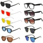 SO SHADES OF STYLE Wayfarer, Clubmaster, Rectangular Sunglasses(Red, Black, Yellow, Clear, Brown, Blue)