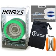 Henrys PYTHON Pro YoYo (Green) Metal Professional String Trick (1A, 3A, 5A) Bearing YoYo +Instructional Booklet of Tricks & Travel Bag! Top Of The Range YoYo! Pro YoYos For Kids and Adults.
