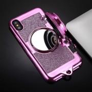 Para IPhone X TPU Cámara Forma Espejo Brillo Volver Funda Protectora Con Soporte Y Lanyard (magenta)