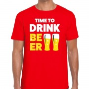 Bellatio Decorations Time to drink Beer heren T-shirt rood