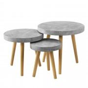 [en.casa]® Set de 3 mesas de centro hormigón gris mesa auxiliar salón