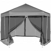 vidaXL Hexagonal Pop-Up Marquee with 6 Sidewalls Grey 3.6x3.1 m