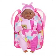 """13"""" African American Soft Baby Doll With Take Along Pink Doll Backpack Carrier, Briefcase Pocket Fits Doll Accessories and Clothing"""