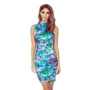 MyButik.pl Sukienka Z Golfem Bez Rękawków Kwiaty Zielone Art XS/XL