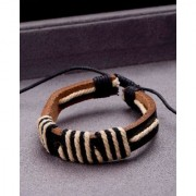 Dare by Voylla Brown Leather Black Thread Adjustable Bracelet from Cool Stacked