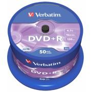 DVD+R Verbatim SL 16X 4.7GB 50PK SPINDLE MATT SILVER (43550)