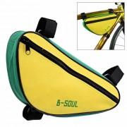 B-ALMA YA191 Nylon Triangulo de la bici del bolso del tubo Top - amarillo + verde