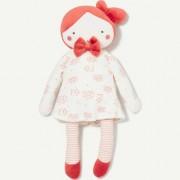 Poupée Doudou Tape À L'oeil Vintage Pink Robe Blanche Comforter Plush Doll Baby Motifs Maison Cabane Oiseaux