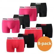 Puma Boxershorts 8-pack Placed Logo Red/Pink/Black-S