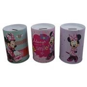 "Disney Minnie Mouse ""Smile"" Large Tin Coin Piggy bank Set of 3"