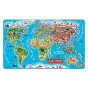 Janod harta magnetică a lumii World Map German Version Magnetic 05490 albastru
