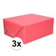 Shoppartners 3x Inpakpapier/cadeaupapier rood kraftpapier 200 x 70 cm rollen