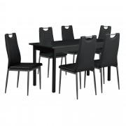 [en.casa] Juego de comedor con mesa y 6 sillas negro