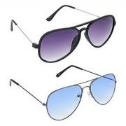 Hrinkar Grey Mirrored Aviator Unisex Sunglasses