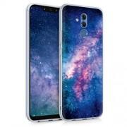 kwmobile Funda Compatible con Huawei Mate 20 Lite Carcasa de TPU y Estrellas en la Galaxia en Rosa Claro/Rosa Fucsia/Azul Oscuro