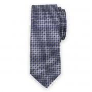 Keskeny nyakkendő sötétkék színben pöttyös mintával 11129