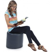 Home Story Round Ottoman L Size Grey With Beans