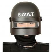 Geen Politie SWAT verkleed helm met vizier voor kinderen zwart