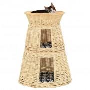 vidaXL 3-részes természetes fűzfa macskakosárszett párnákkal