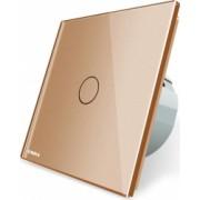 Intrerupator simplu cap scara / cap cruce wireless cu touch Livolo din sticla Auriu