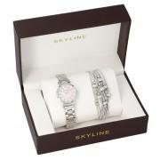 SKYLINE dámská dárková sada stříbrné hodinky s náramkem 2950-13