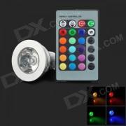 GU10 3W 90lm 1-LED proyector de luz RGB con control remoto de 24 teclas - plateado (85-265 V)