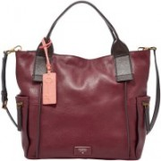 Fossil Women Casual Maroon Genuine Leather Satchel
