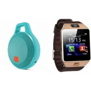 Zemini DZ09 Smart Watch and Clip Plus Bluetooth Speaker for LG OPTIMUS L1 II DUAL(DZ09 Smart Watch With 4G Sim Card Memory Card| Clip Plus Bluetooth Speaker)