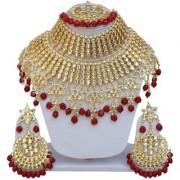 Lucky Jewellery Ethnic Maroon Color Gold Plating Padmavat Jewelry Kundan Necklace Set For Girls Women