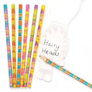 Baker Ross Hairy Heads Pencils - 12 Funny Print Pencils For Kids. 17cm. 6 Designs.
