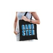 Bellatio Decorations Gangster fun tekst cadeau tas zwart dames