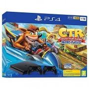 Sony Bundle Ps4 1 Tb Colore Nero + Videogioco Crash Team Racing + 2 Controller W