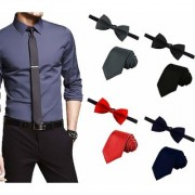 Men's Tie Combo of 4 Classic Slim Neckties with Bow Ties ColourBlack Red Grey Navy Blue Casual Style Fashion P