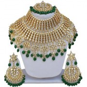 Lucky Jewellery Ethnic Green Color Gold Plating Padmavat Jewelry Kundan Necklace Set For Girls & Women