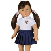 CUSTOMIZABLE School Uniform for American Girl Doll - YOUR OWN SCHOOL LOGO - DIY by Magic Dolls - Fits 18'' Dolls Teddy Bears Our Generation, AG Crafts, Outfit to Match Girl School Uniform