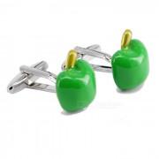 Manzana verde hombres en forma de mancuernas - plata + verde (par)