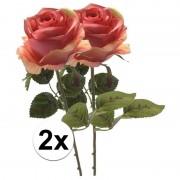 Bellatio flowers & plants 2x Roze roos kunstbloem Simone 45 cm