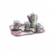 6th Dimensions Tin Tea Set with Pot for Kids