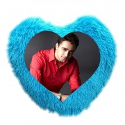Beautiful Blue Heart Fur Pillow With Personalized Photo