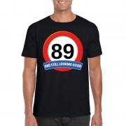 Bellatio Decorations Verkeersbord 89 jaar t-shirt zwart heren