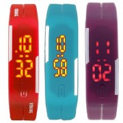 combo of three band watches red skyblue & purple for men