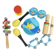 MagiDeal 7Pcs Band Performance Percussion Rhythm Beat Toy Jingle Bell Rattle Drum Kit