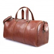 Brødrene CORTEZ Koniakowa męska torba ze skóry Podróżna smooth leather