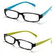 Rsg2-Rsb4 Black-Green Frame Rectangle Unisex Eyeglasses - Buy 1 Get 1 Free