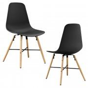 [en.casa]® Елегантен стол Eindhoven комплект от 2 броя, дървени крака 85,5 x 46 cm Черен