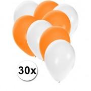 Shoppartners 30x ballonnen wit en oranje