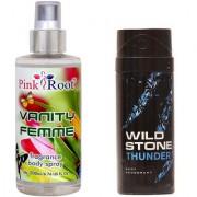 Wild Stone Thunder Body Deodorant 150ml and Pink Root Vanity Femme Fragrance body Spray 200ml Pack of 2