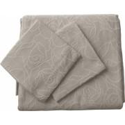 Set de cuvertura de pat Valentini Bianco cu 2 fete de perna din bumbac jackard model Dotty Ecru