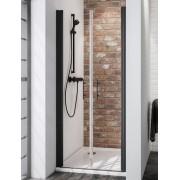 Schulte Home Portes de douche battantes 90 cm, transparent, anticalcaire, style industriel, profilé noir
