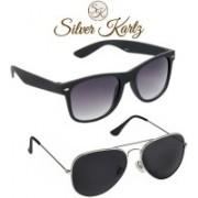 Silver Kartz Wayfarer, Aviator Sunglasses(Black, Black)